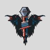 Vogels met een microfoon Muziekillustratie De stijl van de tatoegering Rotsaffiche Royalty-vrije Stock Afbeeldingen