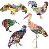 Vogels met ornamenten worden verfraaid dat royalty-vrije illustratie