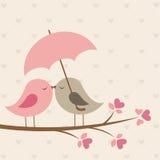 Vogels onder paraplu vector illustratie