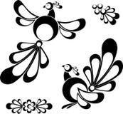 Vogels, ontwerpelementen, tatoo royalty-vrije illustratie