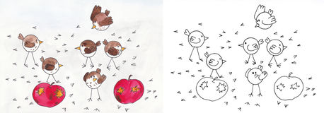 Vogels op appelen stock illustratie