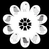 Vogels op Bloem stock illustratie