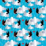 Vogels op de wolken Naadloze Achtergrond Royalty-vrije Stock Afbeeldingen
