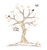 Vogels op de zomerboom Stock Afbeelding