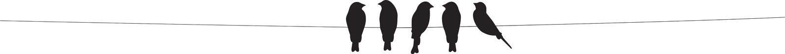 Vogels op draadvector, Vogelssilhouetten die op witte achtergrond worden geïsoleerd Muurdecor, Muuroverdrukplaatjes, Art Decor, A stock illustratie