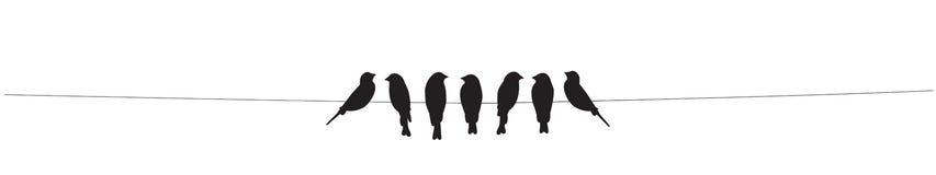 Vogels op draadvector, Vogelssilhouetten die op witte achtergrond worden ge?soleerd Muurdecor, Muuroverdrukplaatjes, Art Decor, A royalty-vrije illustratie