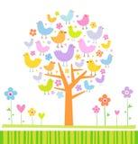 Vogels op een boom Stock Fotografie