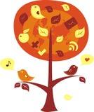 Vogels op een boom met communicatie pictogrammen Royalty-vrije Stock Afbeelding