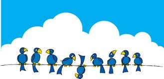 Vogels op een draad #2 vector illustratie