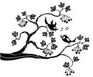 Vogels op een tak Royalty-vrije Stock Afbeeldingen