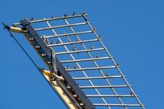 Vogels op een traditionele windmolen in een landelijk landschap stock foto