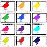 Vogels op Geplaatste Zegels Stock Foto