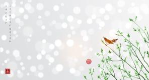 Vogels op jonge boomtakken Het traditionele Japanse inkt schilderen royalty-vrije illustratie