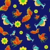Vogels op lijsterbessenpatroon Stock Fotografie