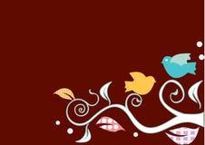 Vogels op swirly bomen Stock Foto's