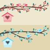 Vogels op tak Stock Afbeeldingen