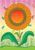Vogels rond Flower_eps stock illustratie