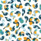 Vogels vlak naadloos patroon binnen Royalty-vrije Stock Foto's