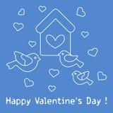 Vogels, vogelhuis en harten De Dag van de valentijnskaart \ 's Royalty-vrije Stock Foto's