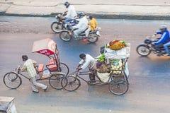 Vogelschau auf Rikschas in Jaipur Stockfoto