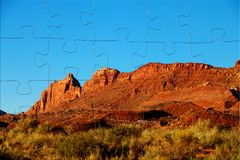 Vogelschau des schönen Natur Monument-Talmarksteins Arizona-Staates Luftlandschaftsansicht von Rodeländern am sonnigen Tag lizenzfreies stockbild