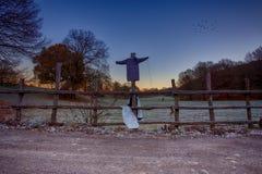 Vogelscheuche auf einem Zaun Lizenzfreies Stockfoto