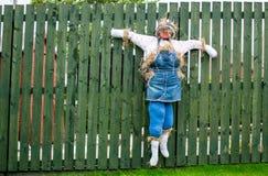 Vogelscheuche, die am Zaun hängt Lizenzfreie Stockfotos