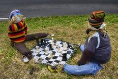 Vogelscheuchen, die Schach spielen Stockfotografie