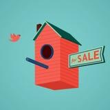 Vogelshuis met a voor verkoop dign stock illustratie