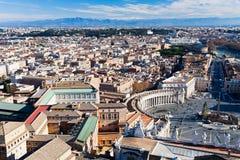 Vogelsmening over centrum van de stad van Rome Royalty-vrije Stock Foto's