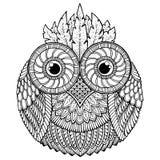 Vogelthema Eulenschwarzweiss-Mandala mit abstraktem ethnischem aztekischem Verzierungsmuster Stockbilder