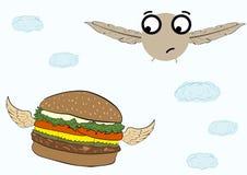 Vogeltje en hamburger Stock Afbeelding