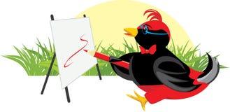 Vogeltje-kunstenaar met schildersezel Royalty-vrije Stock Fotografie