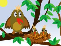 Vogeltje rond hefboom met nestvogel Stock Foto