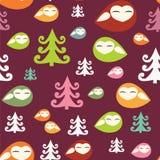 Vogeltjes in het houten naadloze Kerstmispatroon Royalty-vrije Stock Foto