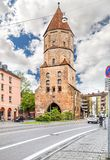 Vogeltor in Augsburg, Germany. Augsburg, Germany - May 09, 2017: Vogeltor the bird`s gate is one of the five city gates that were once part of Augsburg`s city royalty free stock images