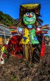 Vogelverschrikker op Tractor royalty-vrije stock foto