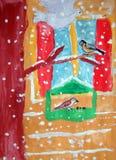 Vogelvoeder - gouache schilderen gemaakt door kind stock illustratie