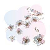 Vogelzitting op een tak van appelbloesems Royalty-vrije Stock Fotografie