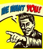 Vogliavi! Retro uomo d'affari con indicare il dito, posto vacante ora stiamo assumendo il segno, illustrazione di stile del libro Immagini Stock Libere da Diritti