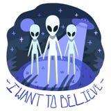 Voglio credere il manifesto di vettore (fondo e carta) con gli stranieri sulla collina e sul UFO nella notte Illustrazione Vettoriale