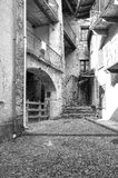 Vogogna (Ossola Valley, Piedmont): old alley. Black and white photo Stock Image