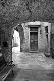 Vogogna (Ossola Valley, Piedmont): old alley. Black and white photo Stock Photo