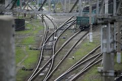 Railway tracks. The Vogons are on the branching railway tracks stock photo