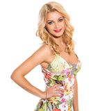 Vogue. Beautiful blonde in cute dress Royalty Free Stock Photography