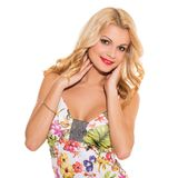 Vogue. Beautiful blonde in cute dress Stock Image