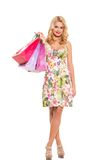 Vogue. Beautiful blonde in cute dress Royalty Free Stock Images