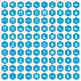 100 vogue icons set blue. 100 vogue icons set in blue hexagon isolated vector illustration royalty free illustration