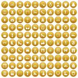100 vogue icons set gold. 100 vogue icons set in gold circle isolated on white vector illustration Royalty Free Illustration