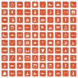 100 vogue icons set grunge orange. 100 vogue icons set in grunge style orange color isolated on white background vector illustration stock illustration